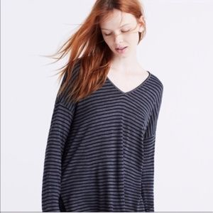 Madewell Striped V-Neck Long Sleeve T-Shirt